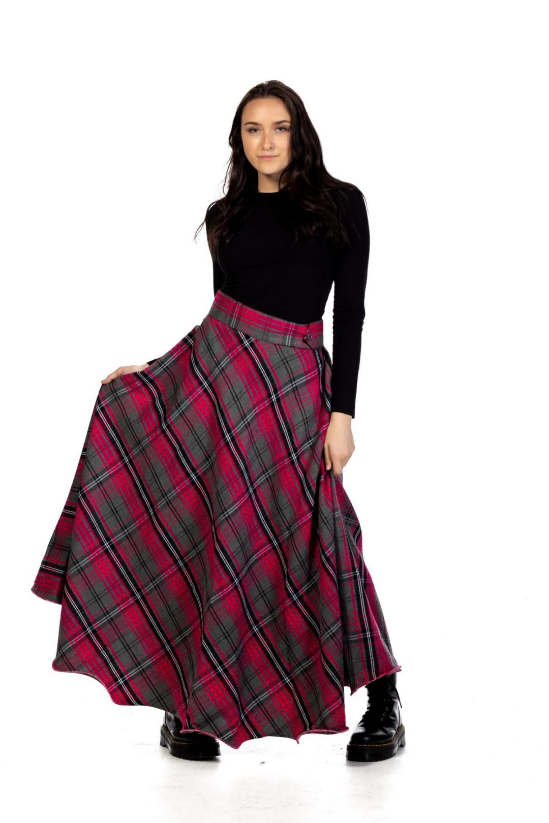 Long Plaid Tartan Skirt – Button Zipped