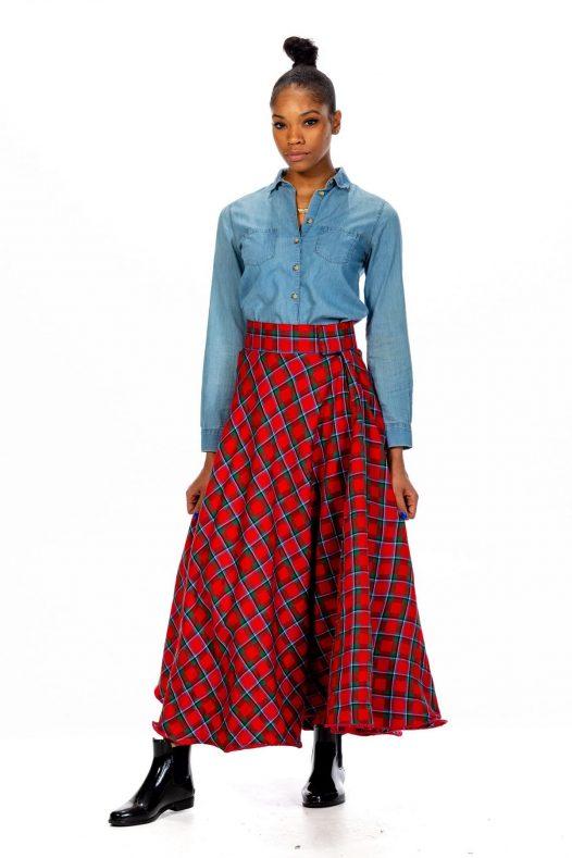 Long Tartan Skirt – Velcro