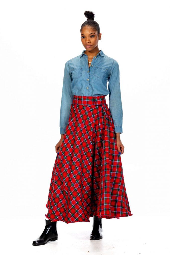 women's tartan long skirt