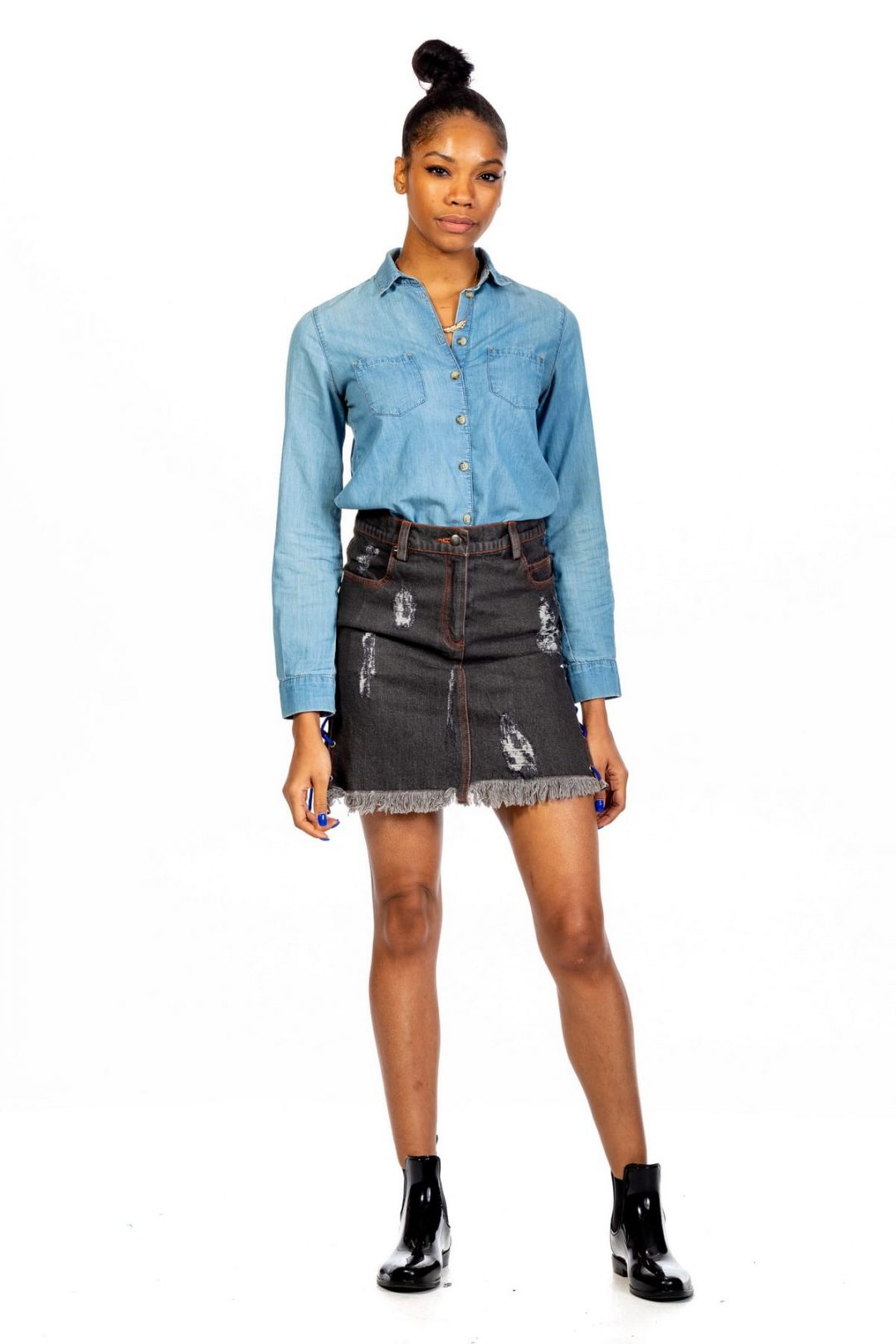 Denim Kilt With Lace String