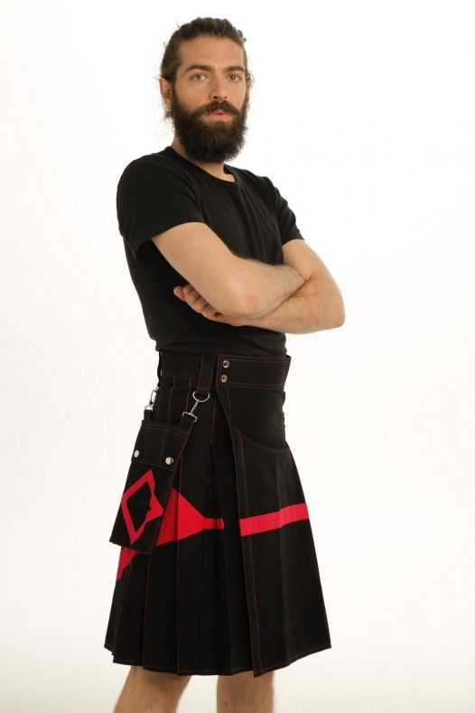 Diamond Black Utility Kilt with Detachable Pockets