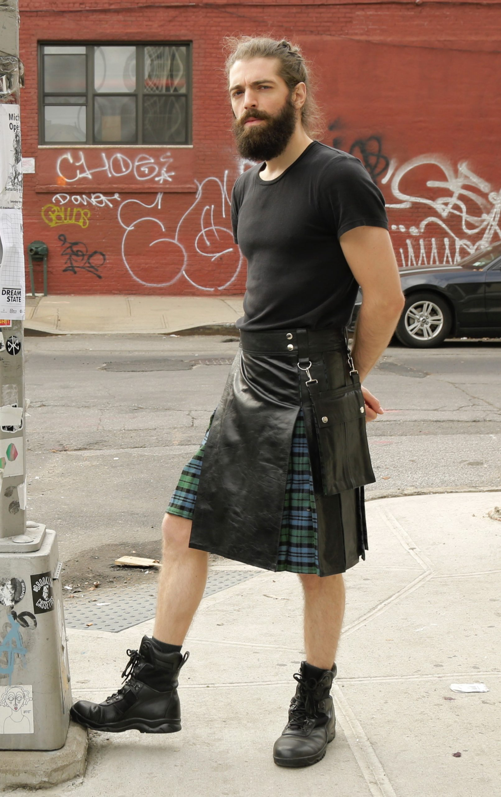 leather hybrid kilt 1